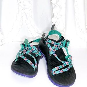 Kids Chaco kind adjustable purple & green sandals